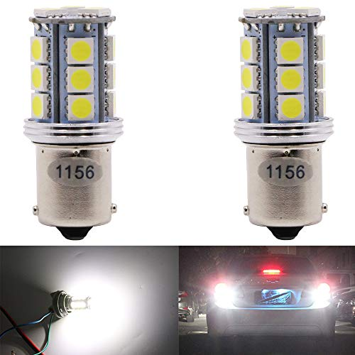 AMAZENAR 2-Pack 1156 BA15S 7506 1141 1003 1073 1095 Extremely Bright 300Lum White 6500K LED Light 10-30V-DC,5050 18 SMD Replacement Bulb For Interior RV Camper Turn Signal Light Lamps Tail Bulb Tail B