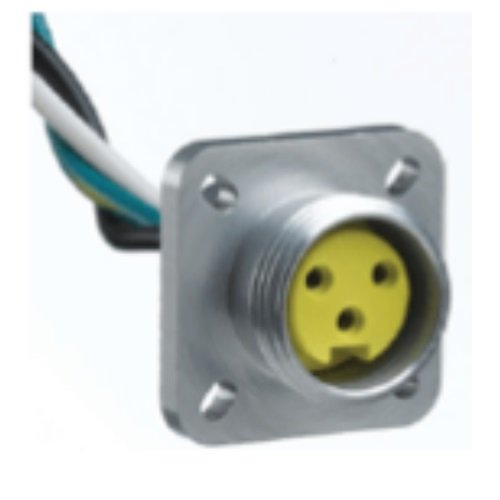 Woodhead 1R6005A20A120 Mini-Change A-Size Receptacle with Lead, Female Right Angle, 6 Pole, 1/2''-14 NPT Mounting Thread Size, UL1061 Cable Type, PVC Cable Jacket, 16AWG Wire Size, 8.0A Max Current Rating, 600V AC/DC Max Voltage, 12'' Cable Length, Front Pa