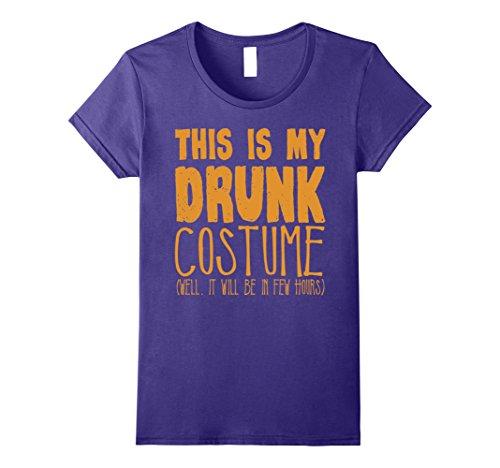 Womens This Is My Drunk Halloween Costume T-Shirt Medium Purple -
