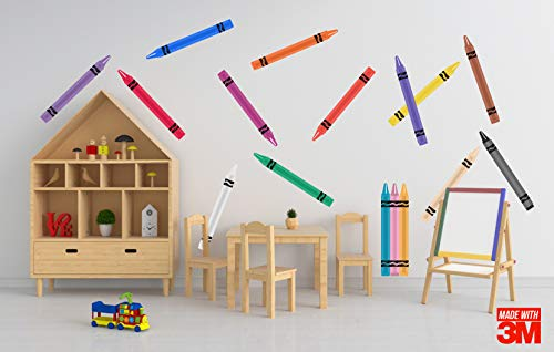 Crayon Wall Stickers: 16 Giant Colorful Crayons Set (Multicolor Wall Art Decals, Decor for Kid Playroom) - 16.5 inches Tall