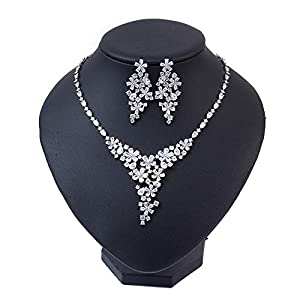 Jewellery Sets Women's Elegant Jewelry Set – Silver Floral Transparent Cubic Zirconia Crystal Rhinestone Pendant Earrings And Necklace Bridal Jewelry Set Ideal For Bridesmaid Gifts Necklace Earrings P