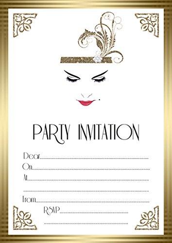 10 x Birthday Evening Anniversary Invitations Great Gatsby Vintage Art Deco ABV Designs