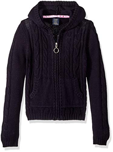 U.S. Polo Assn. Girls' Little Cable Knit Zip Front Hi-Lo Hooded Sweater, Navy, 5/6