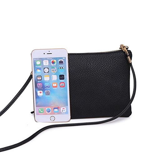 Black Satchel Bags Woman Black Crossbody for Messenger Pocket Shoulder Pouch Cellphone Bag Handbag Ladies Mini 6qzZZdw