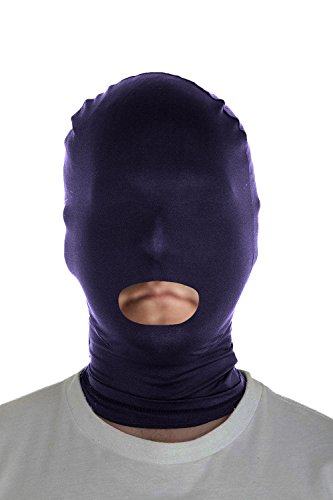 Marvoll Lycra Spandex Mouth Hole Zentai Mask Hoods Halloween Costumes (Adults, Navy)]()