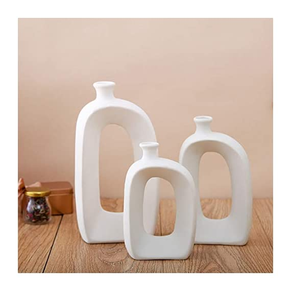 Anding White Ceramic Vase - 3 Set Vases. Matte Design - Modern Vase Decoration. Perfect Home Decoration Vase (LY688set) - SIZE;Large; 9.84 inches high, 5.5 inches wide, medium; 7.87 inches tall, wide; 4.33 inches, small; 6.69 inches high and 3.3 inches wide. Material: 100% ceramic material, handmade Production method: hand-made by old craftsman, white ceramic vase matte design - vases, kitchen-dining-room-decor, kitchen-dining-room - 41mAIs ZnwL. SS570  -