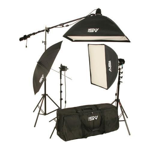 (Smith-Victor K75 2200-Watt Professional Quartz Studio Lighting Kit with 1 720-SG, 2 765-UM Lights, Softboxes, Boom Arm, Stands &)