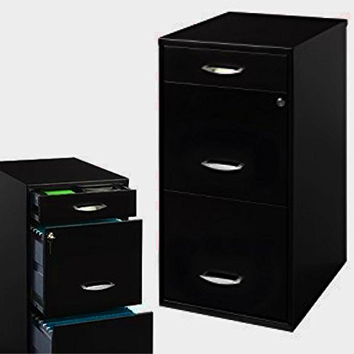 Black Metal File Cabinet with 3-Drawers Vertical Locking Filing Letter File Cabinet Shelf Flat Decorative Large Under-Desk Heavy-Duty File Cabinet Office File Storage eBook by - Cabinets Heavy Duty File