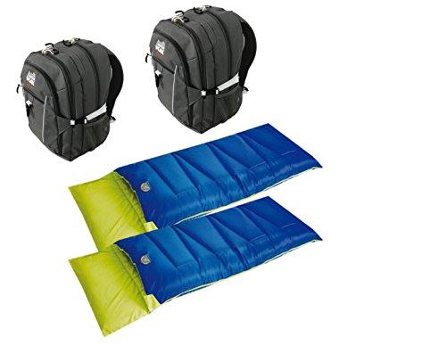 High Peak USA Alpinizmo 2 Vector 38 Backpack + 2 Pilot 0 Sleeping Bags Combo, Grey/Blue, One Size