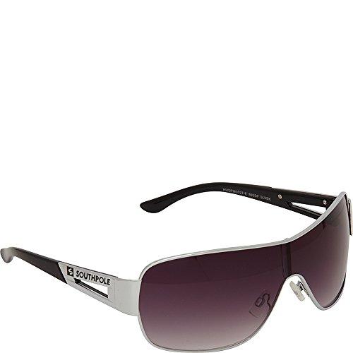 Logo Metal Aviator Shield Sunglasses (Southpole Men's 893SP SLVBK Aviator Sunglasses, Silver & Black, 153 mm)