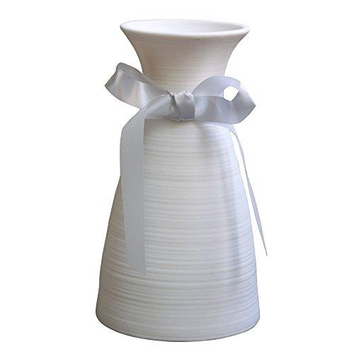 Vintage Ceramic Vase - Jomop Elegant Vintage White Ceramic Vase Matte Finish Wedding Gift Modern Simple Crafts (7''in)