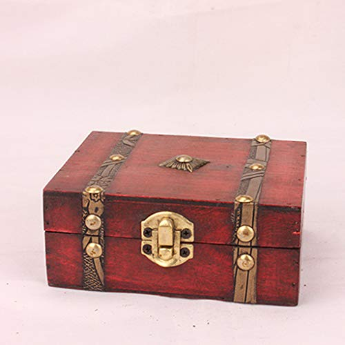 Gotian Jewelry Box Vintage Wood Handmade Box with Mini Metal Lock for Storing Jewelry Treasure Pearl - Jewelry, Bracelet, Earrings, Necklace, Brooch, Hair Clip