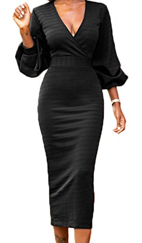 LAVENCHY Womens Vogue 3/4 Lantern Sleeve Sexy Party Cocktail Holiday Bodycon Midi Skirt Dress For Women Black,M
