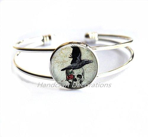 Raven and Skull Bracelet, Skull Jewelry, Skull Bracelet,Raven Bracelet,Book Bracelet - Fairy Tales - Poe Jewelry - Bird Bracelet - Bird Jewelry.F167 (Bracelet Ravens Skull)