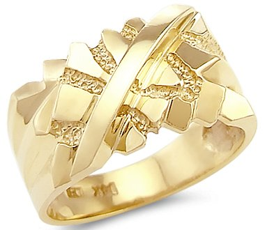 Size- 12.5 - Solid 14k Yellow Gold Big Heavy Mens Nugget Ring Band (Ring Nugget Gold Yellow)