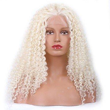 Peluca sintética con encaje frontal de chubasquero para mujer, rizada, color blanco rizado,