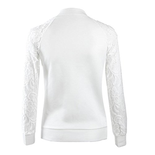 XUANOU Womens Long Sleeve Lace Blazer Suit Casual Jacket Coat Outwear (Large, White) by XUANOU (Image #3)