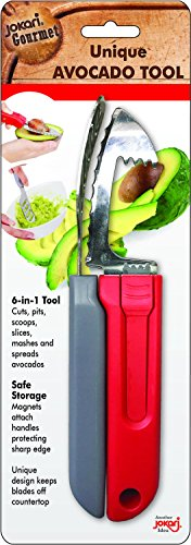 Avocado Tool, 6-in-1 Opener Knife, Cutter, Pitter, Scooper, Slicer, Masher & Spreader - Best Kitchen Utensil for Avocados and Perfect Guacamole Maker - Dishwasher Safe by Jokari Gourmet