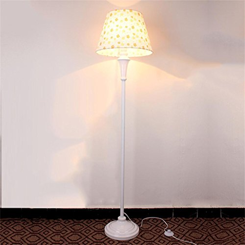 - Uncle Sam Li@ Pastoral Floral White Floor Lamp Fashion Living Room Bedroom Floor Lamp Reading and Craft Floor Lamp