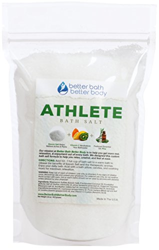 Athlete Epsom Salt Bath Soak With Pine & Eucalyptus Essential Oils Plus Vitamin C - 100% All Natural No Perfumes No Dyes - Post Workout Soak For Tired Sore Muscles