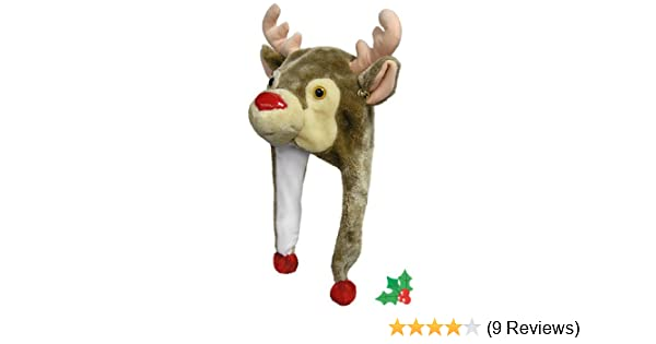 86ca82273dc81 Amazon.com  Christmas Rudolph Reindeer Hat with Poms and Bells  Toys   Games