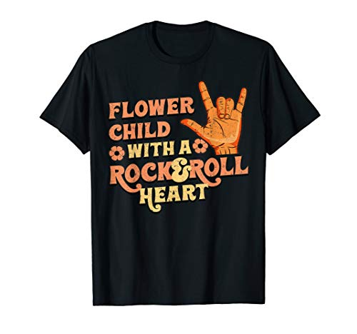 Flower Child With A Rock And Roll Heart Retro Vintage 70s T-Shirt -
