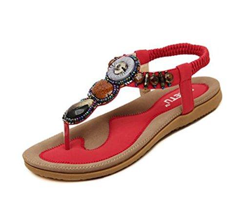 Flops femmes flip Ohmais perles plat Tongs été dames sandale Flattie Rouge Bohême Sandales avec fille zAZ0Aw