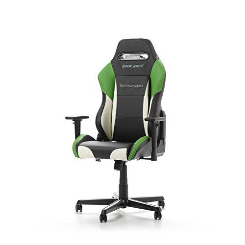 DXRacer Drifting Series OH/DM61/NWE Racing Seat Office Chair Gaming Ergonomic adjustable Computer Chair with – Included Head and Lumbar Support Pillows (Black, White, Green)