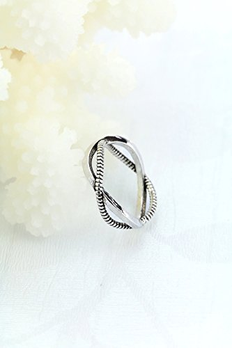 Generic 925 South Korean silver beaded retro Thai Silver Cross wound opening index finger ring ring women girls lady Beautiful personality