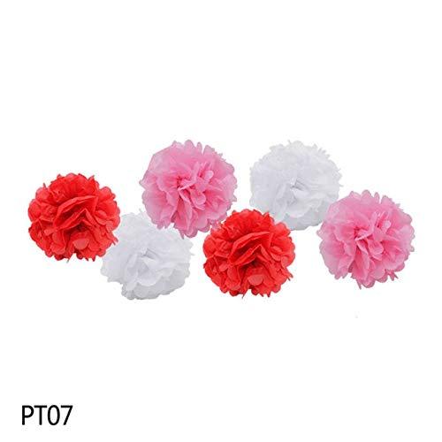 VDV Artificial Flowers 6PCS/Set Handmade 10''(25CM) Tissue Paper Pom Poms Paper Flower Ball for Home Garden Wedding Birthday Party Xmas Car Decoration Daisy Artificial Flowers-PT07