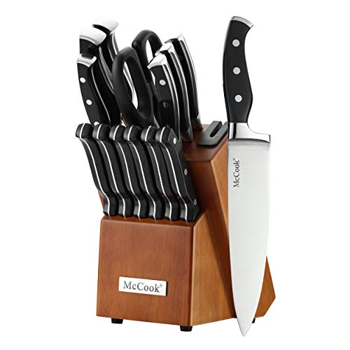 McCook MC23 14 Pieces FDA Certified High Carbon Stainless Steel kitchen knife set with Wooden Block, All-purpose Kitchen Scissors and Built-in Sharpener(Cherry Block)