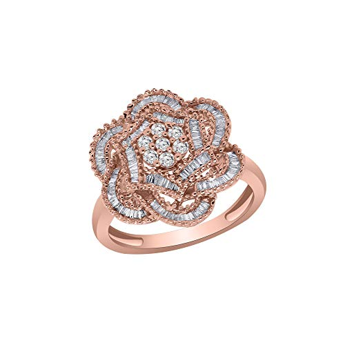 0.51 Ct Round & Baguette Real Diamond 10K Rose Gold Cluster Engagement Ring (rose-gold)
