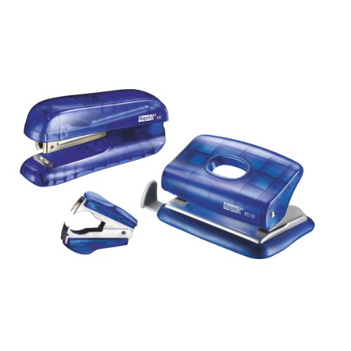 Rapid Mini Stapler and Hole Punch Set, Staple or Punch up to 10 Sheets, Staples N°10 Included, Transparent Blue, F5, 5000302