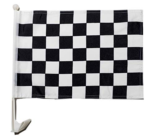 Car Window Flags by Mission Flags Checkered Black & White Perfect for Car Auto Sales - Sold by The Dozen