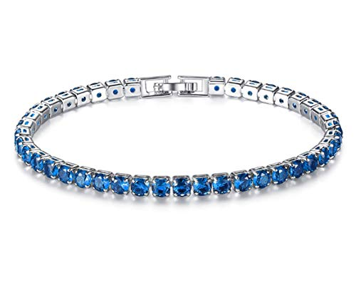 Kintao 18K Rose Gold Plated Colorful AAA Zircon Rhinestone Rose Women Bracelet (Blue)