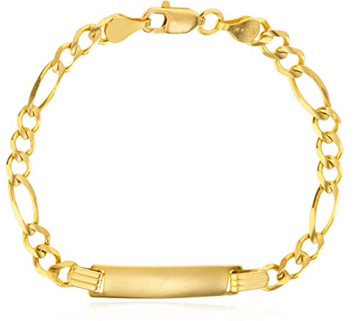 Chain Childrens Id Bracelet - Childrens 14K Solid Gold 5.9 Inch Diamond-Cut Figaro Chain ID Bracelet (GO-1770)