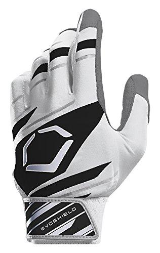 EvoShield Protective Speed Stripe Batting Gloves, White/Black/Grey, Large