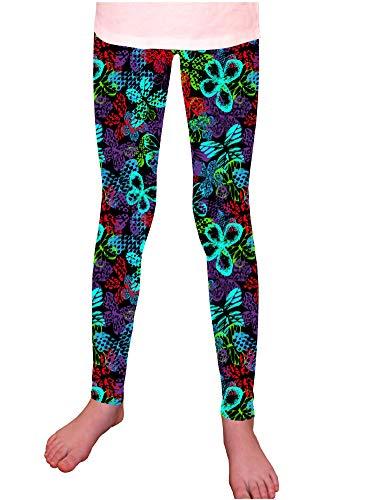 Syleia Girl Leggings High Rise Electric Butterflies Pattern (Medium, 1 Pair - Butterflies Pattern)