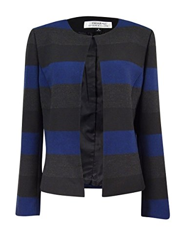 Tahari by ASL Womens Striped Open-Front Jacket Blue 10