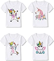4-Pack Unicorn Graphic Girl Party Summer Clothes Girls Fitted T Shirt