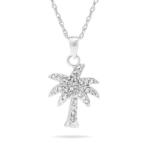 10k White Gold Diamond Palm Tree Pendant Necklace ()