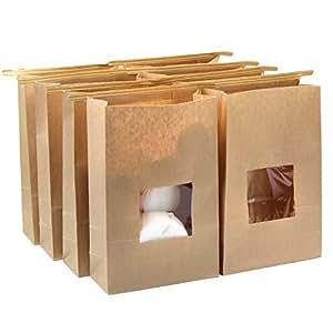Lenhart - 50 Bolsas de Papel de estraza enceradas para Corbatas de Grado alimenticio, 15 x 7 x 23,5 cm (Largo)