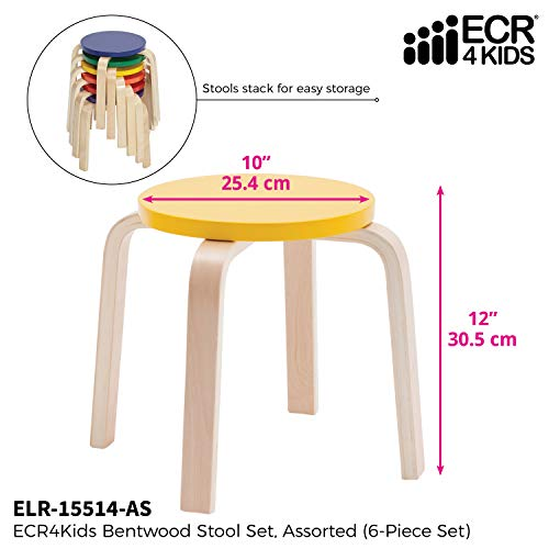 ECR4Kids Bentwood Stacking Stools for Kids, 12'' H, Assorted (6-Piece Set) by ECR4Kids (Image #2)