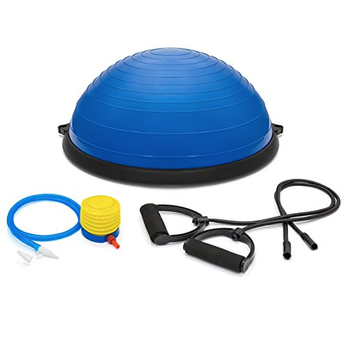 Best Choice Products Yoga Balance Strength Trainer Exercise Fitness Ball for Arm, Leg, Core Workout w/Pump, 2 Removable Resistance Bands - Blue