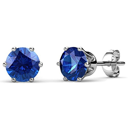 Cate & Chloe September Birthstone Stud Earrings, 18k Gold Plated Earrings with 1ct Gemstone Swarovski Blue Sapphire Crystals, September Birthstone Jewelry for Women