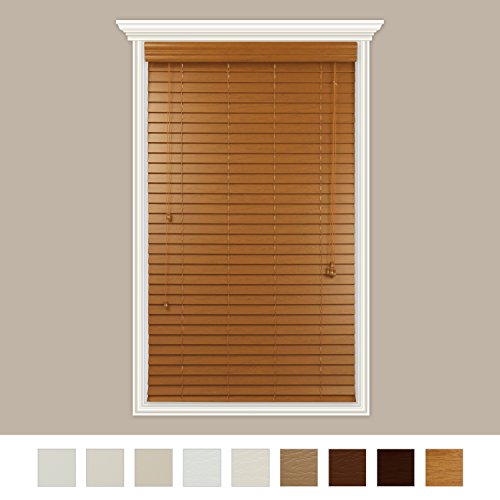 Custom-Made2″ Premium Faux Wood Horizontal Blinds With Easy Inside Mount -21″ x 48″ Oak Real Grain- By Luxr Blinds
