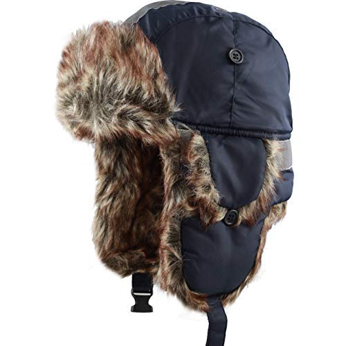 Faux Fur Safety Reflective Aviator Trapper Hat Snow Ski Trooper Winter Cap (Adult, Navy) ()