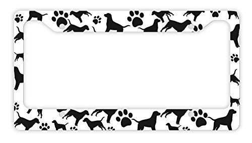 (ThisWear Labrador License Plate Frame Dog Silhouette Paw Print License Plate Frame Labrador Gifts Dog Lovers Novelty License Plate Labrador )