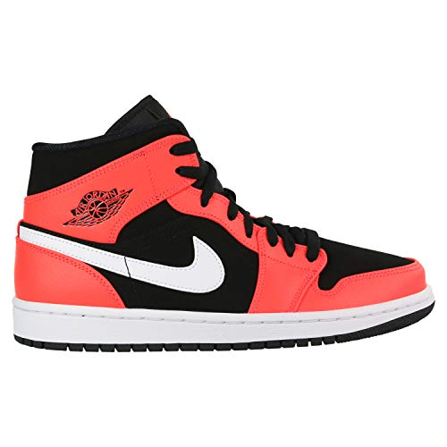 Nike Men's Air Jordan 1 Mid Basketball Shoe, Black/Infrared 23/White, Size 9.5