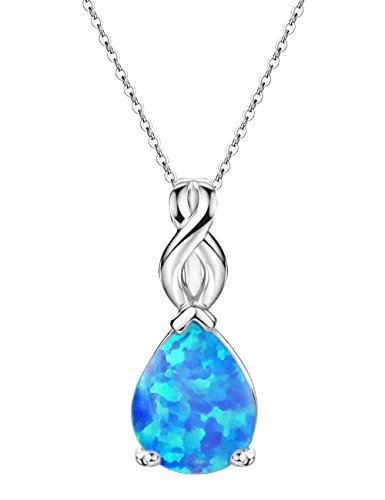 Blue Opal Necklace Pendant Sterling Silver Teardrop October Birthstone Infinity Jewelry for Women 18 (Prong 3 Stone Pendant)